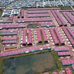Pemandangan drone rumah subsidi pesona prima cikahuripan 6